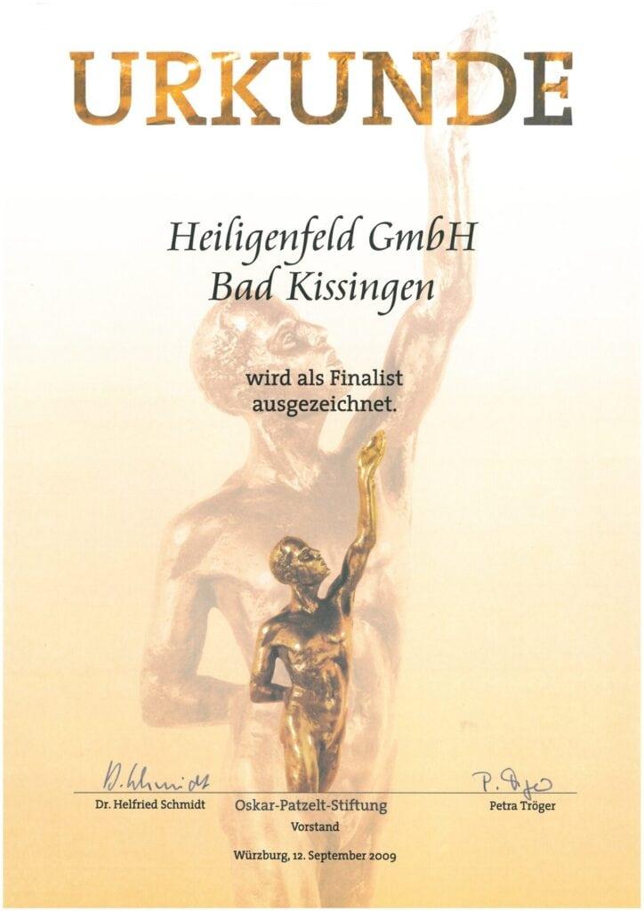 """2009 – Finalist im Wettbewerb """"Großer Preis des Mittelstandes"""" der Oskar Patzelt Stiftung"""