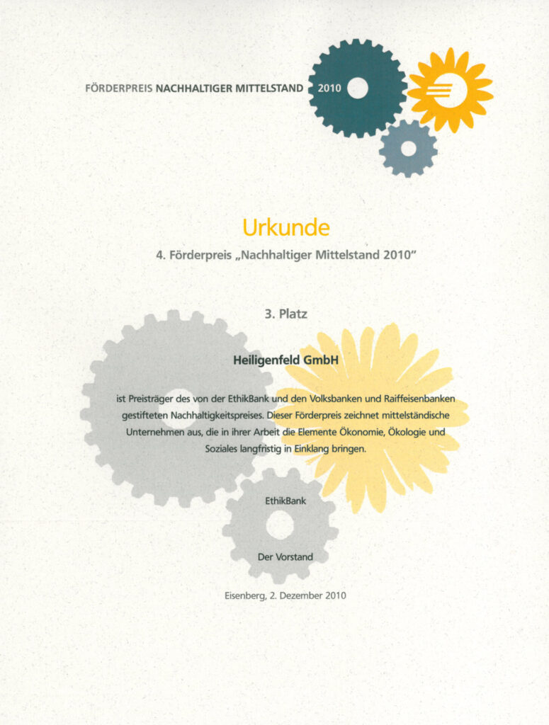 """2010 – Förderpreis """"Nachhaltiger Mittelstand"""""""