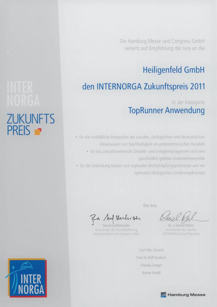 2011 – INTERNORGA Zukunftspreis