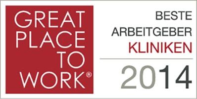"""2014 – """"Beste Arbeitgeber Gesundheit & Soziales"""" – Kategorie Kliniken, 1. Platz"""