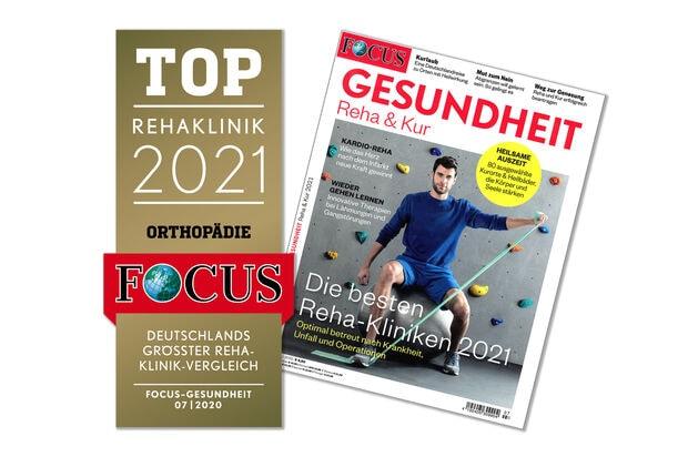 """2021 – Focus-Gesundheit """"Rehaklinikliste 2021"""": Heiligenfeld erneut unter den Top-Rehakliniken Deutschlands"""