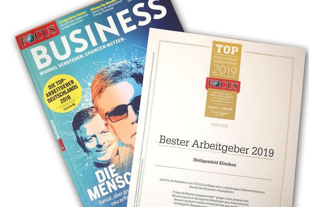 """2019 – FOCUS-BUSINESS kürt Heiligenfeld Kliniken als """"Top-Arbeitgeber Deutschlands"""""""