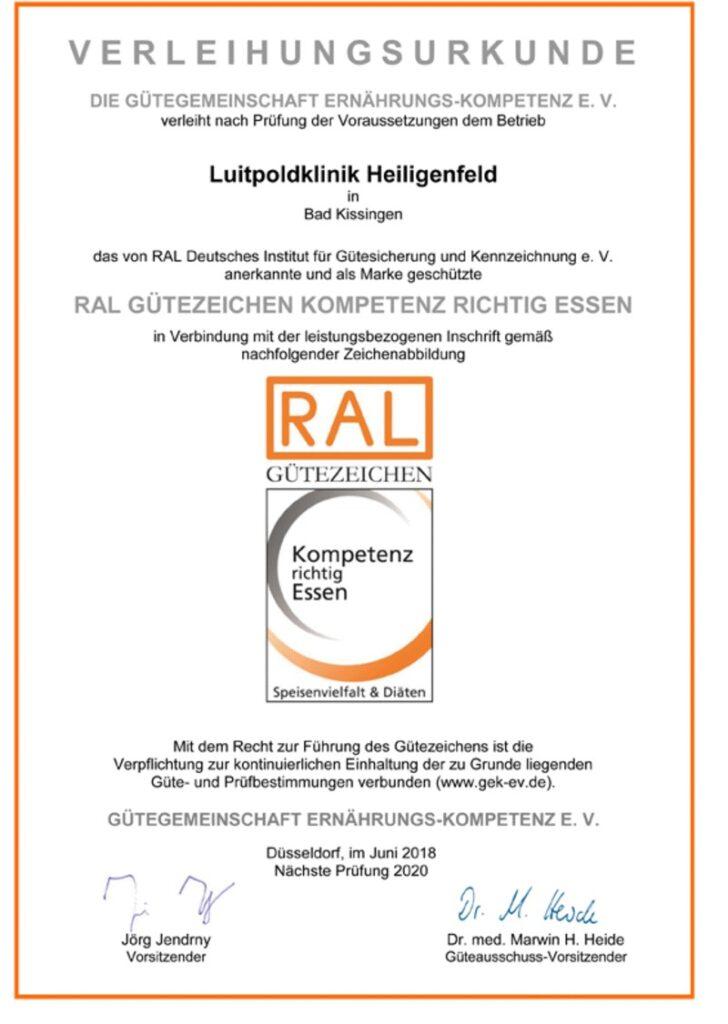 RAL Guetezeichen Urkunde 2018